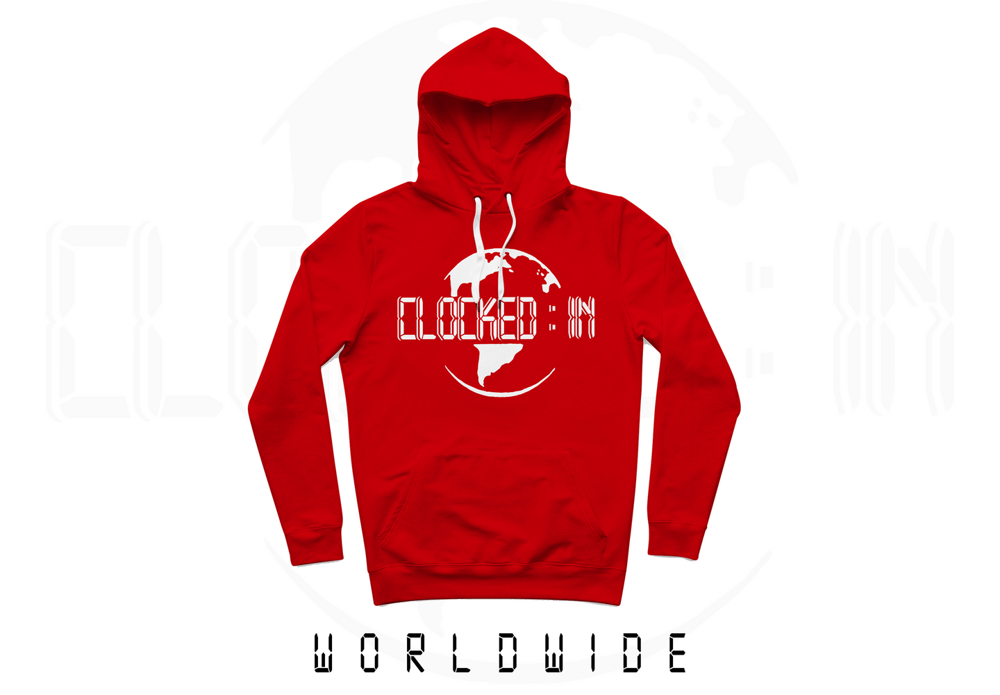 RED CLOCKED IN LOGO PULLOVER