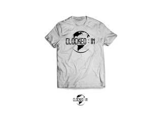 GRAY CLOCKED IN LOGO TEE