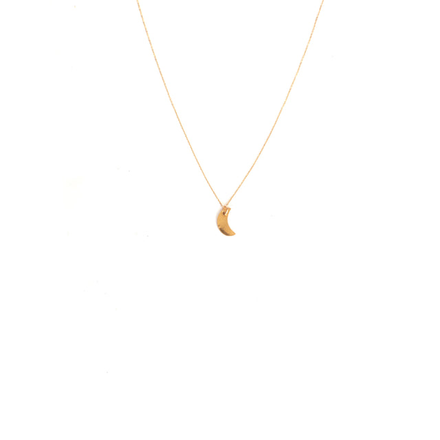 Small Crescent Necklace 14k