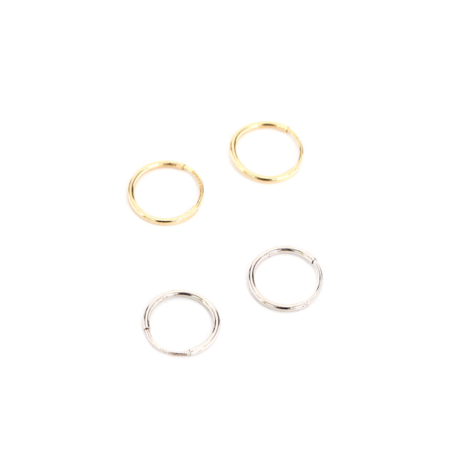 Fine Tiny Hoops Gold and Silver