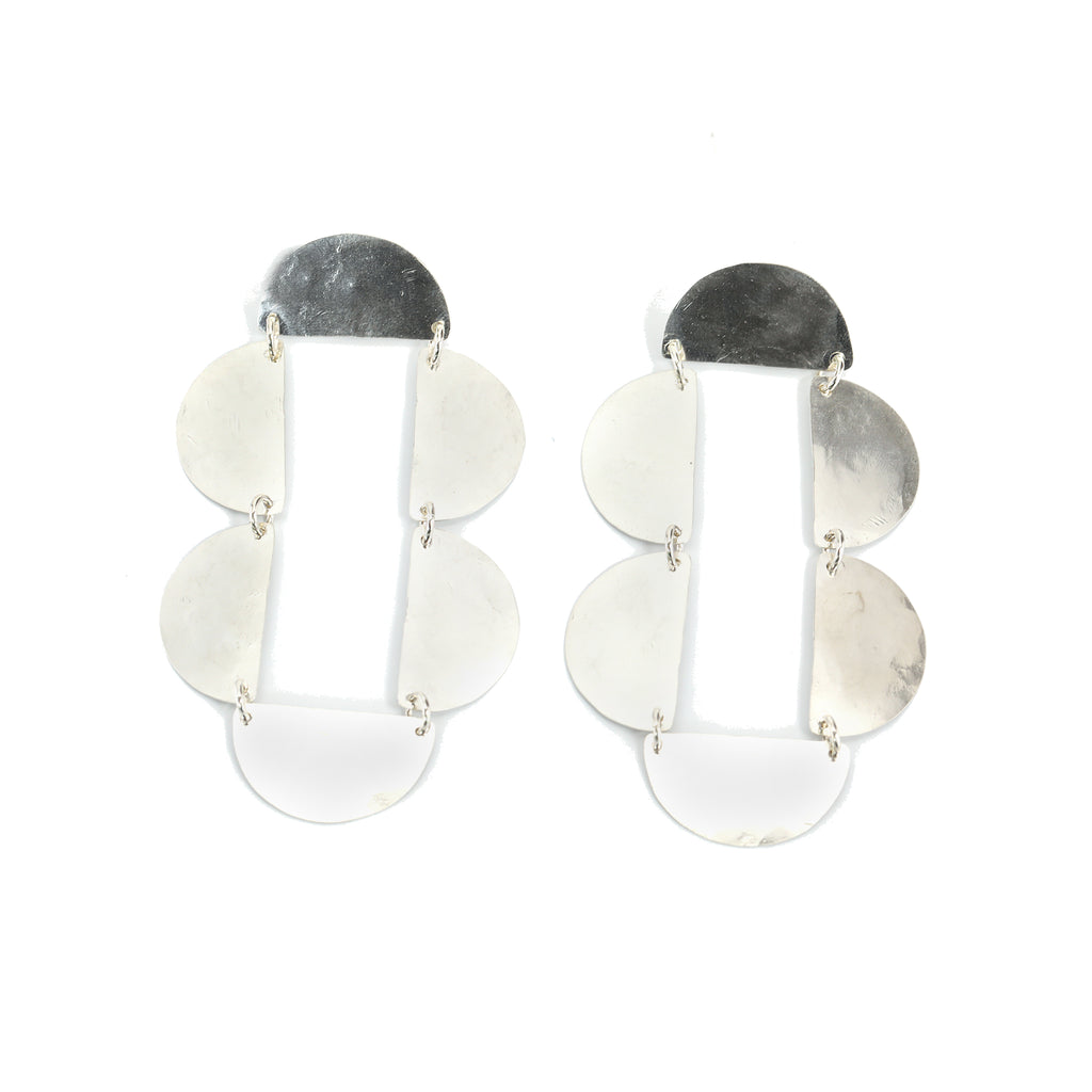 Dangling Silver Frame Earrings