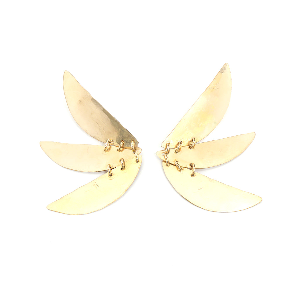 Gold Stacked Pinwheel Earrings