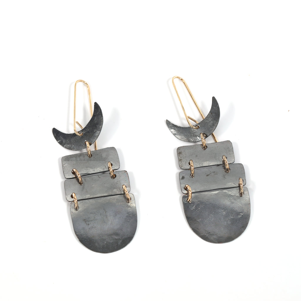 Mixed Metal Fish Hook Earrings