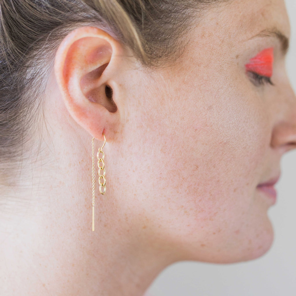 Gold Thread Chain Earrings