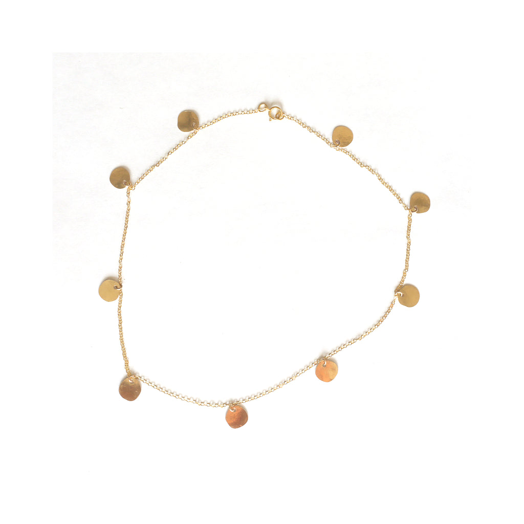 Gold Tiny Disk Necklace