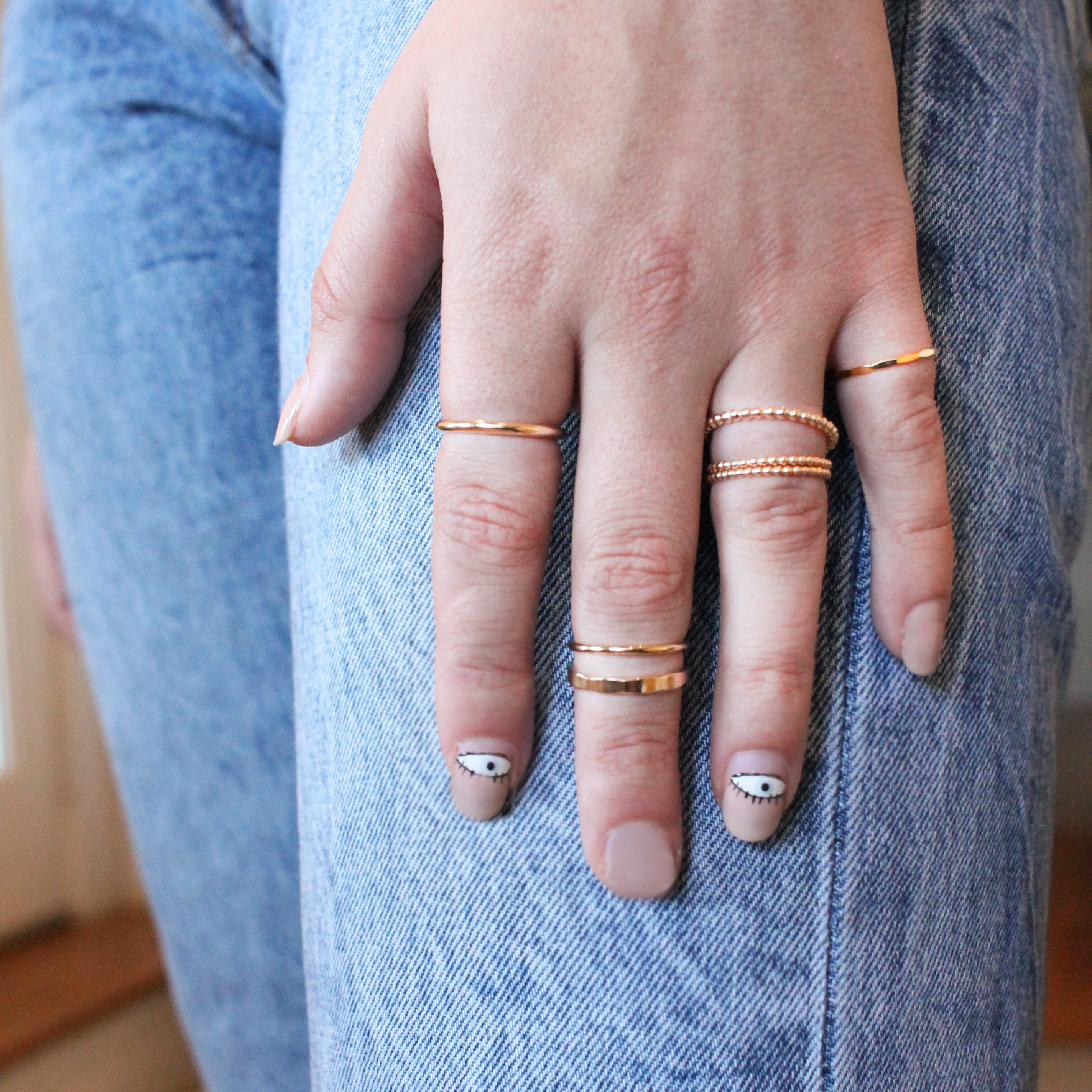 Thin Hammered Stackable Ring