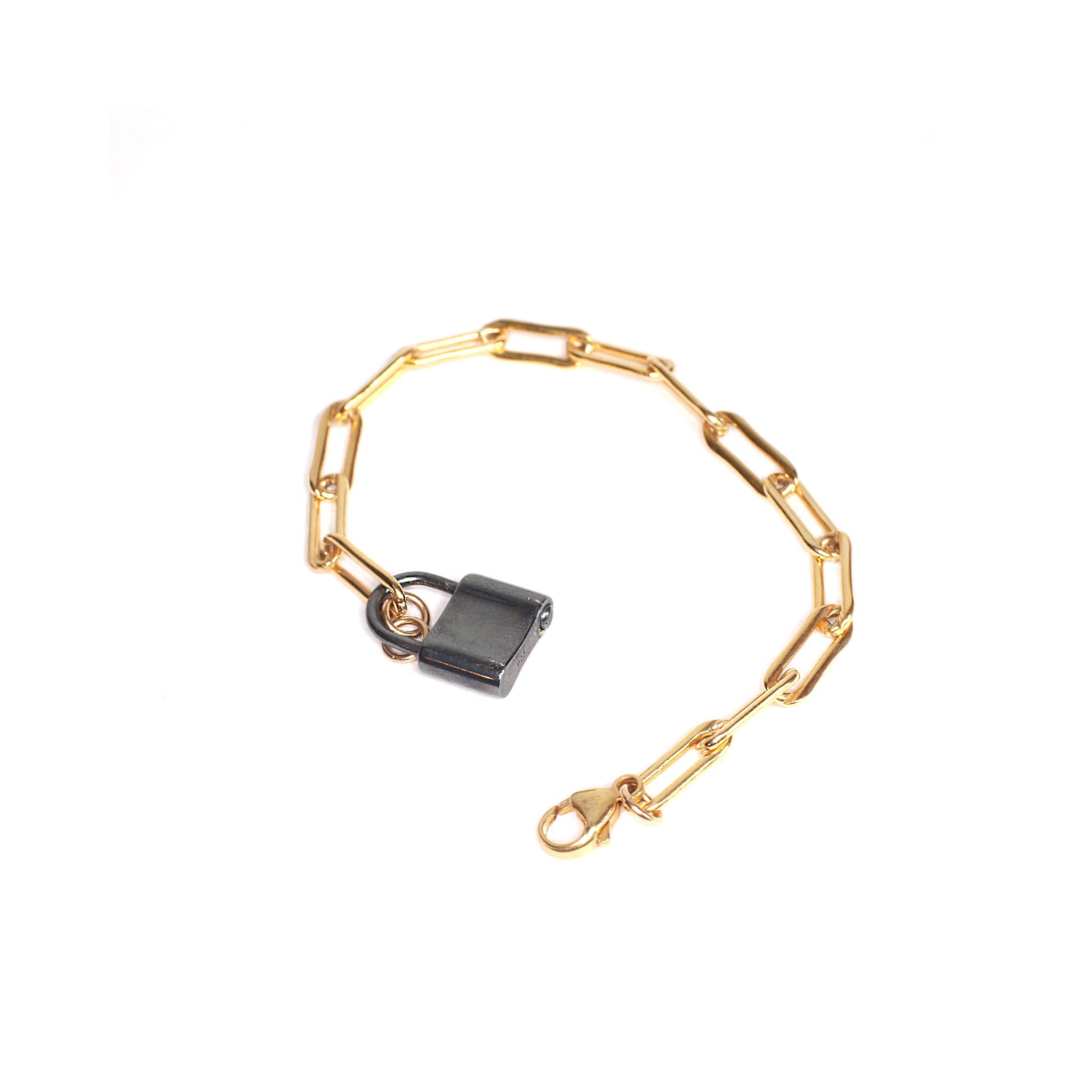 Mixed Metal Lovers Lock Bracelet