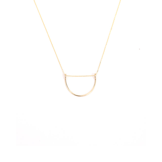 14k Curved Gold Necklace