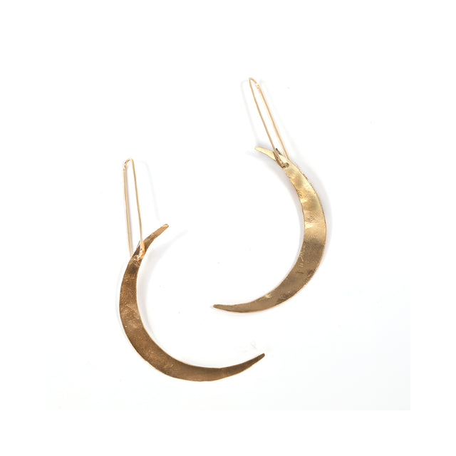 Long Crescent Earrings Gold