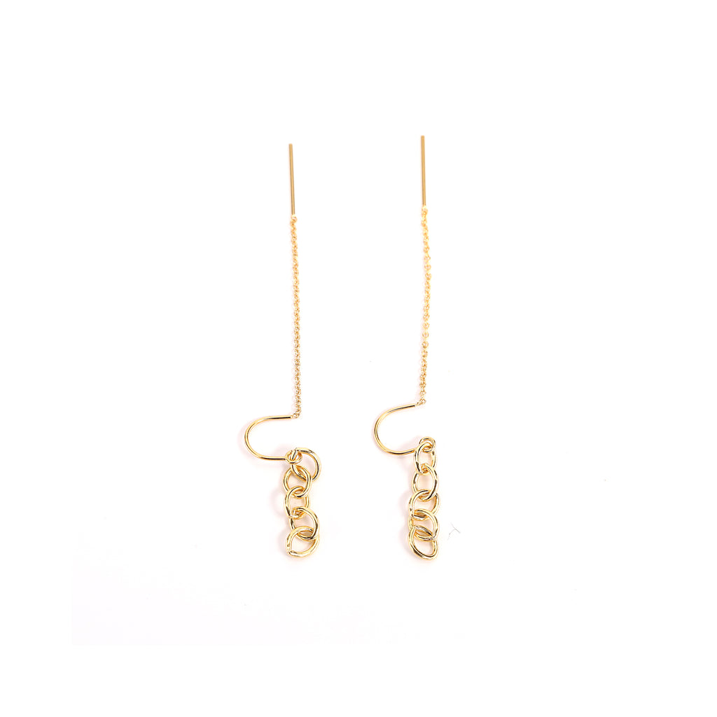 Gold Chain Link Threader Earrings