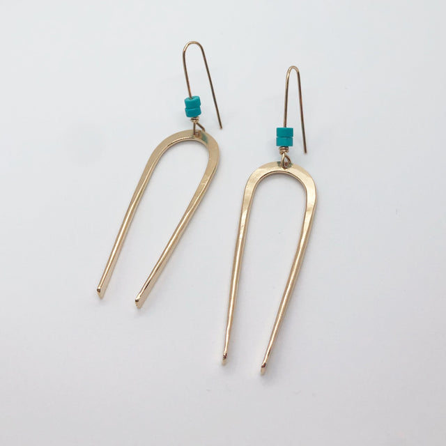 Skinny Squash Blossom Earrings with Turquoise