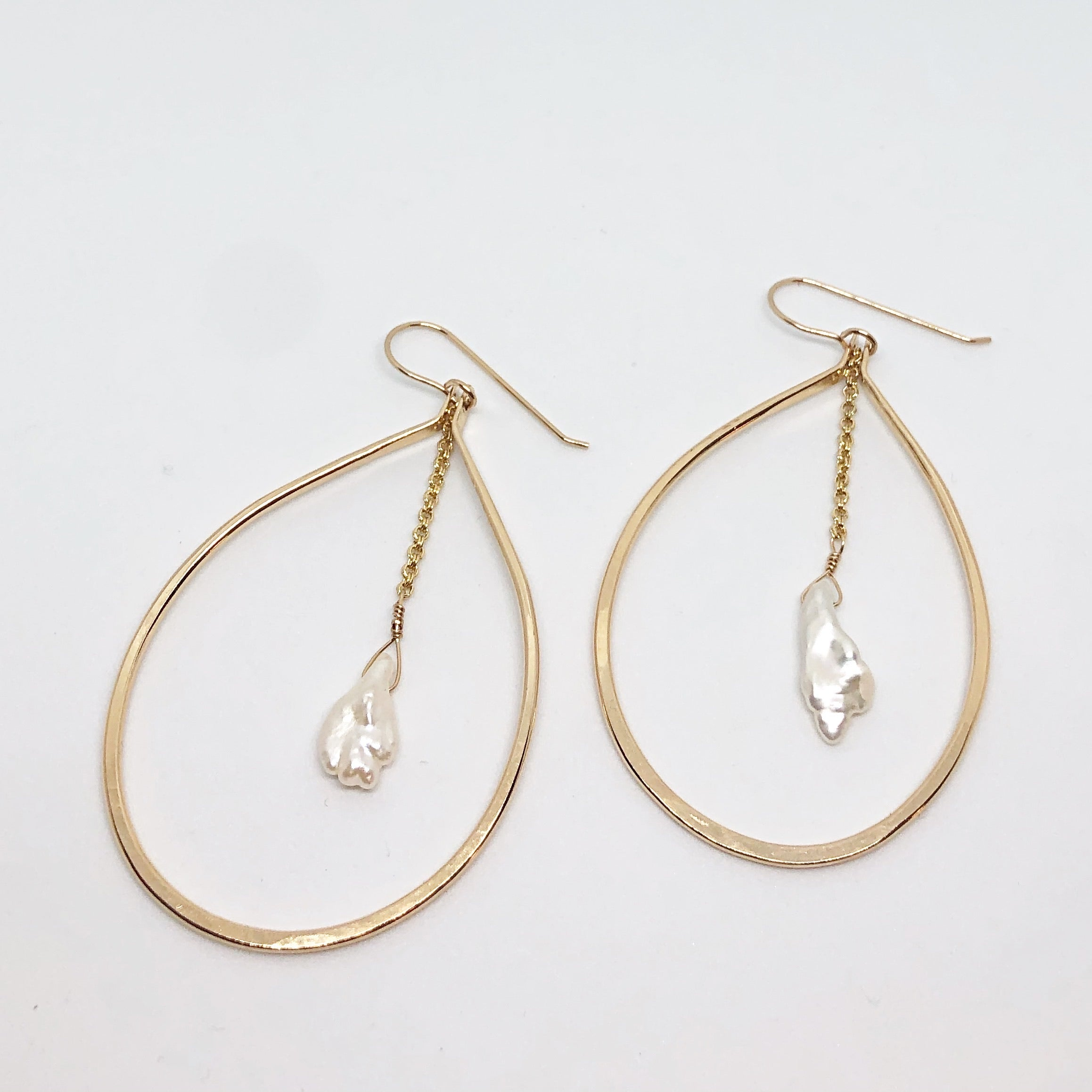 Pearl Drip Hoop Earrings