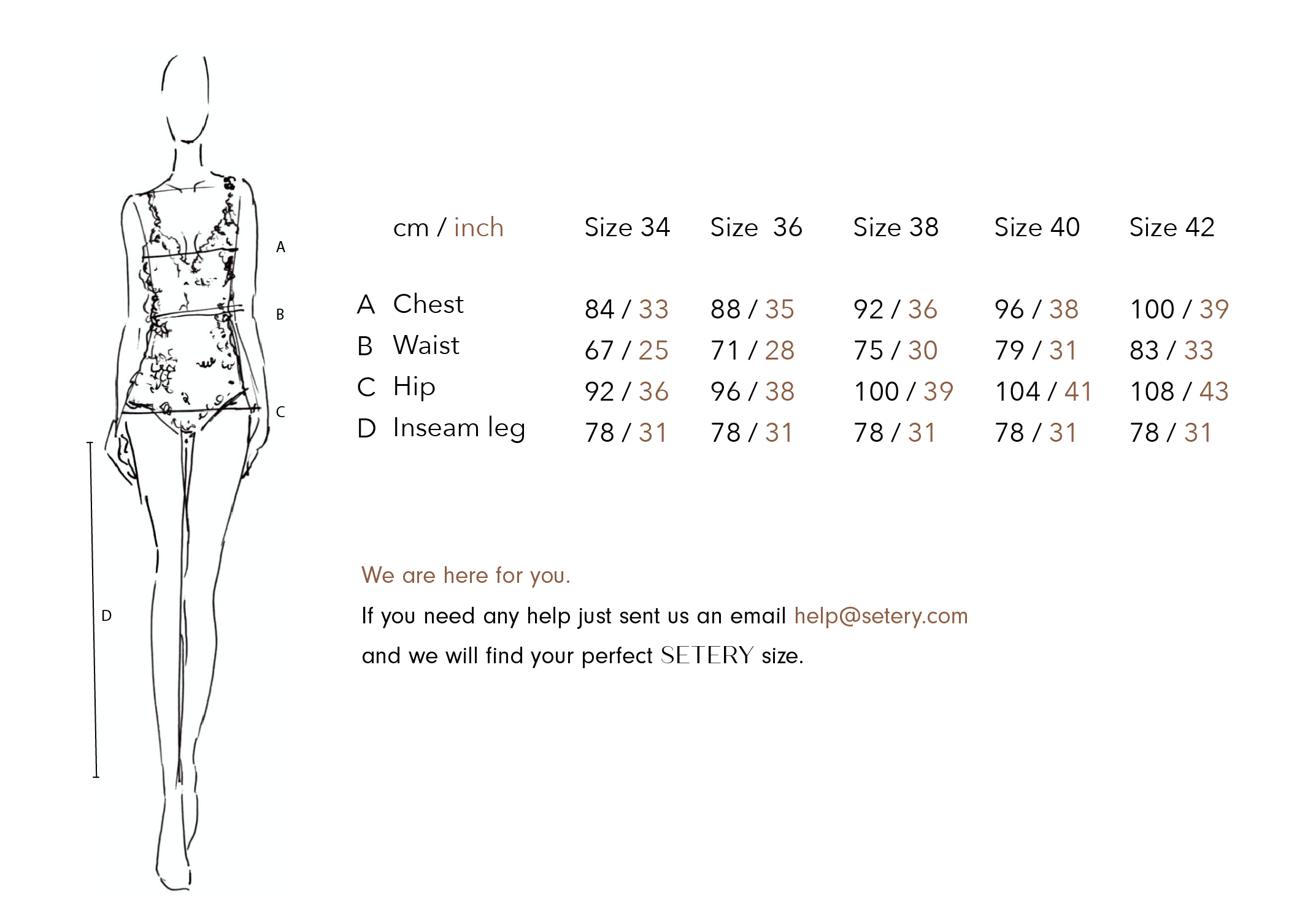 SETERY | Sustainable Fashion Size Guide