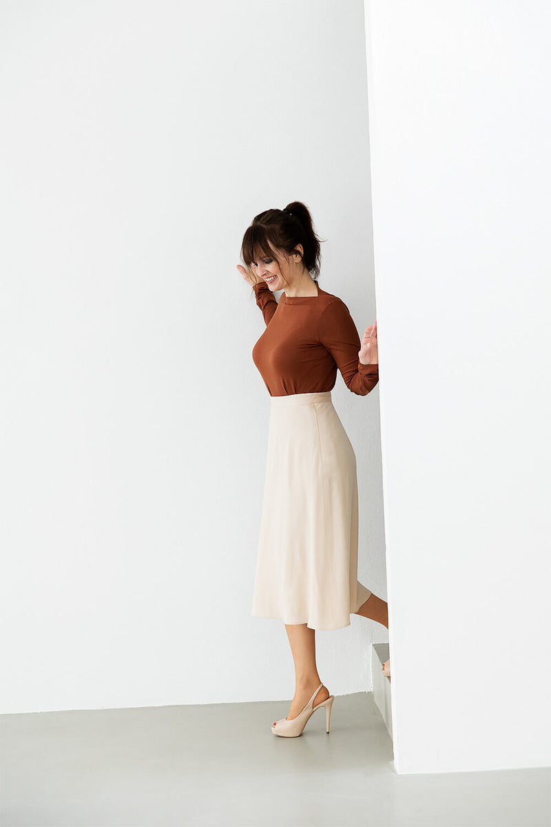 MOANA – A-Line Lyocell Skirt in soft peach
