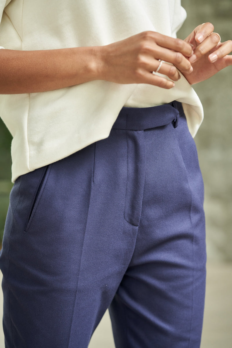 KIRI – High Waist Tapered Trousers in Nordic blue