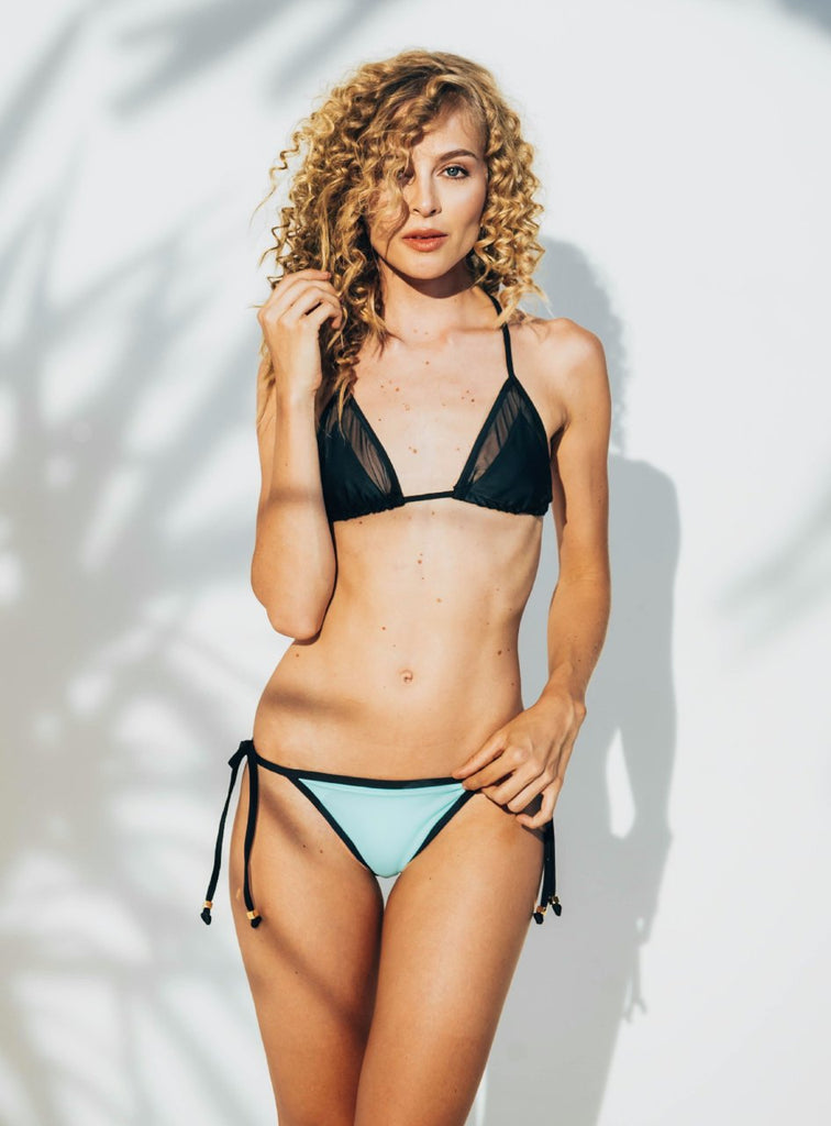 Area Triangle Bikini Bottom in Green/Blue