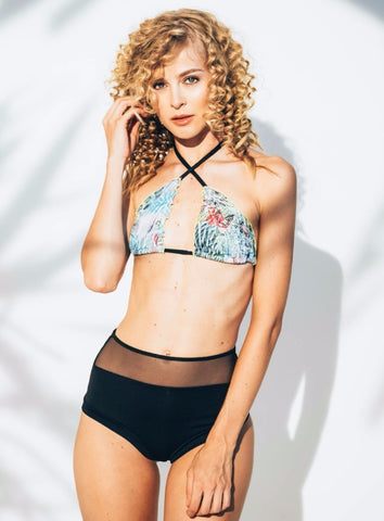 Abha Triangle Bikini Top in Tropical Print