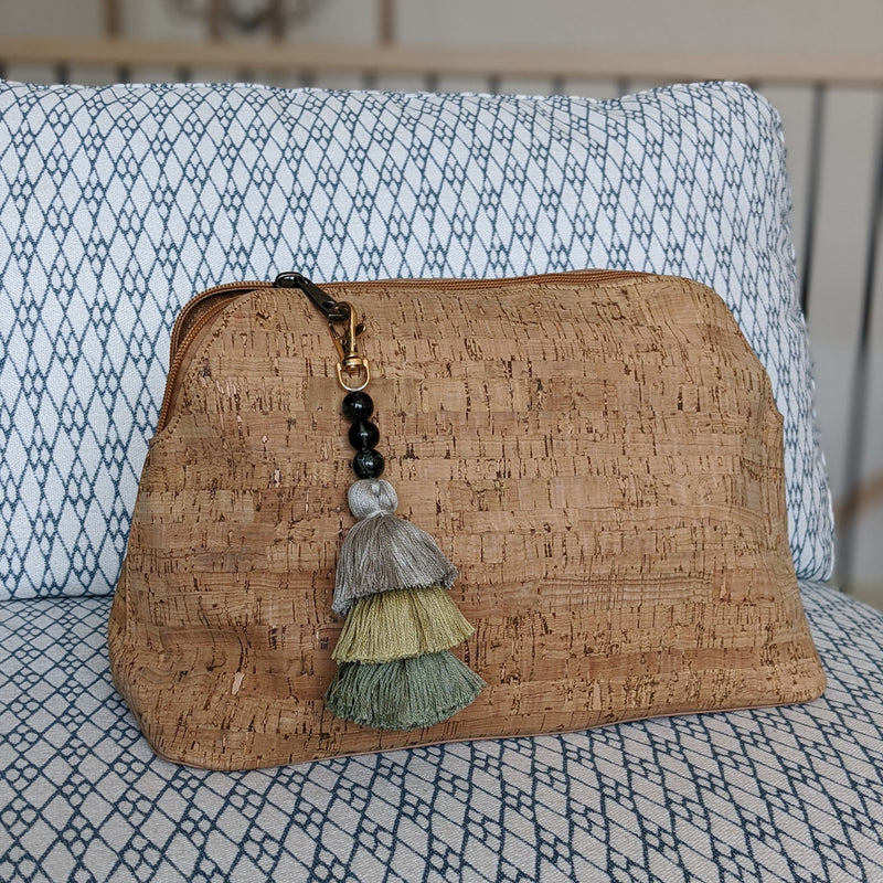 cork knitting project bag with zipper and handmade tassel