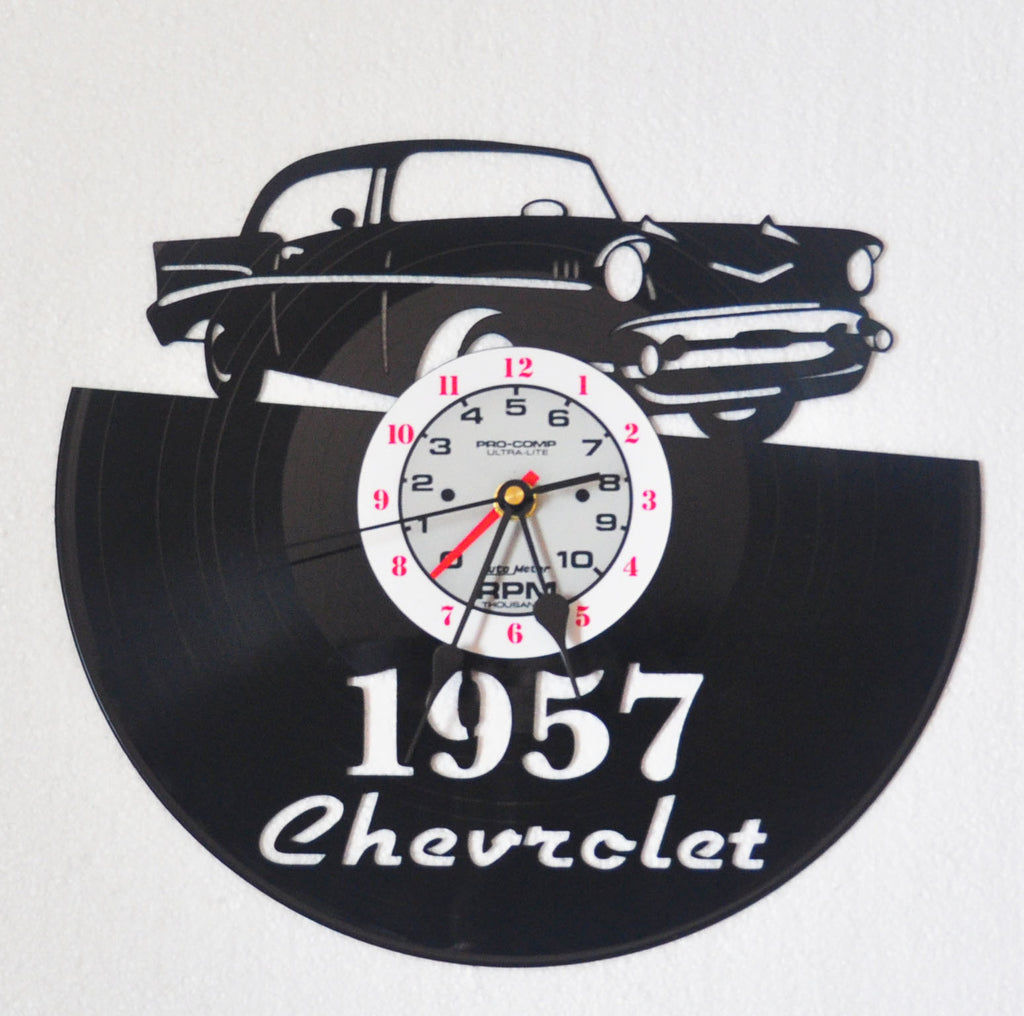 1957 Chevy classic car vinyl record clock-vintage  records for wall / wall clock