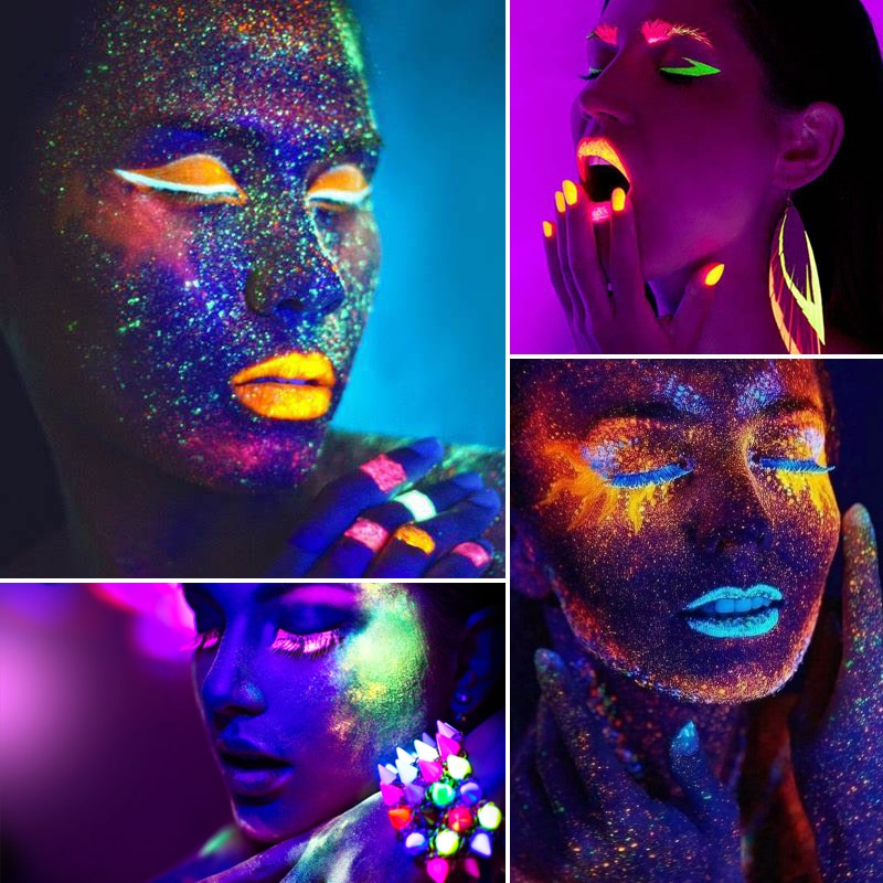 DE'LANCI Aurora Glow Eyeshadow Stage Clubbing Neon Makeup Kit in Blacklight UV Glow in the Dark Fluorescent Eye Shadows