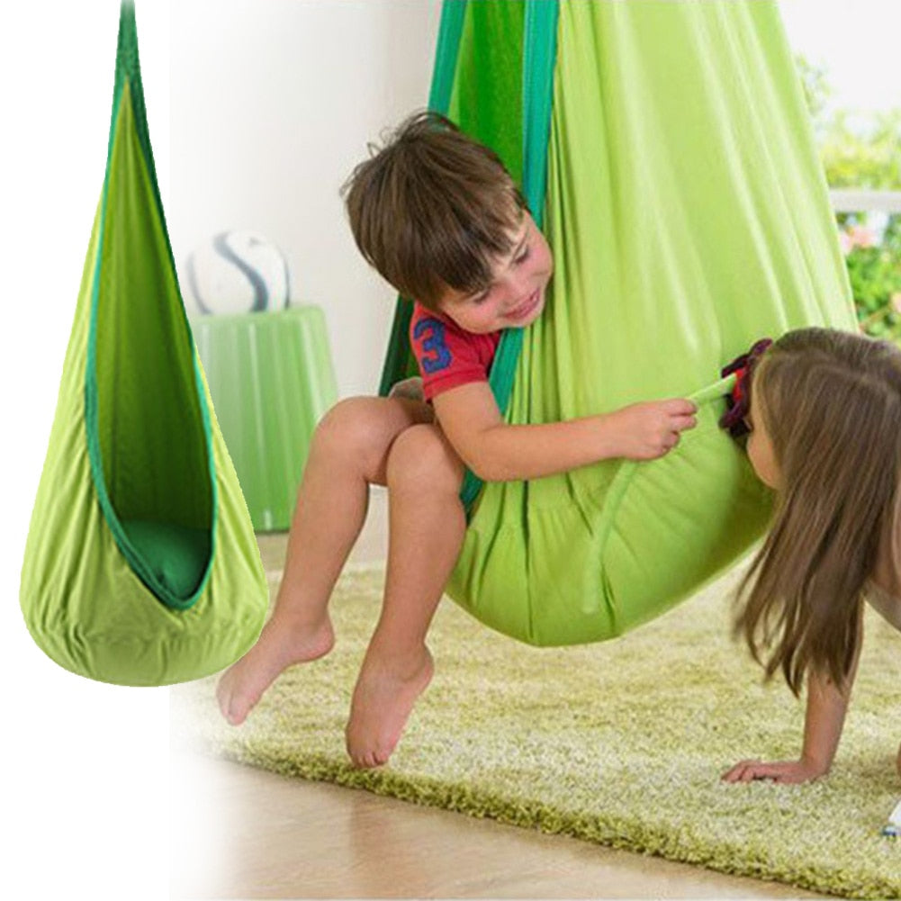 Swing Pod Children Roof Air Cushion Hammock Chair Courtyard Zipper Hanging Seat Home Space Saving Comfortable Indoor Tree