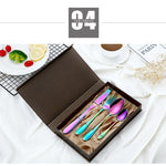 2018 Multi-Colors Rainbow Cutlery Set Dinnerware Set Black Cutlery Kit Fork Knife Stainless Steel Silverware Home Tableware Set