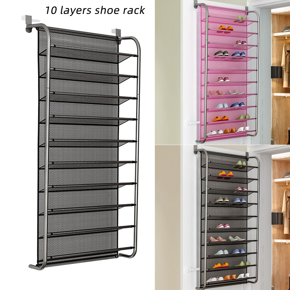 FUNIQUE 36 Pair Over Door Hanging Shoe Rack 10 Tier Shoes Organizer Wall Mounted Shoe Hanging Shelf For Home Dormitory Shoes
