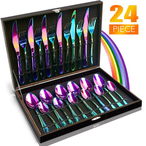 24 PCS Tableware Non-fading Flatware Set Cutlery Stainless Steel Dinnerware Set Rainbow Colorful Hotel Party Kitchen Gift Box