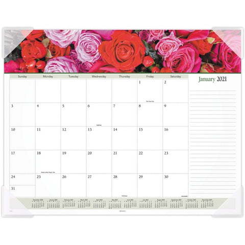 ACCO Brands Corporation Panoramic Floral Image Monthly Desk Pad