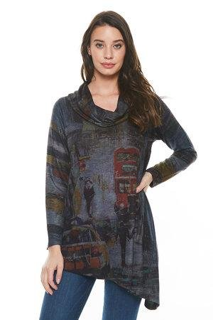 Inoah Long Sleeve Asymmetrical Tunic - Katze Boutique