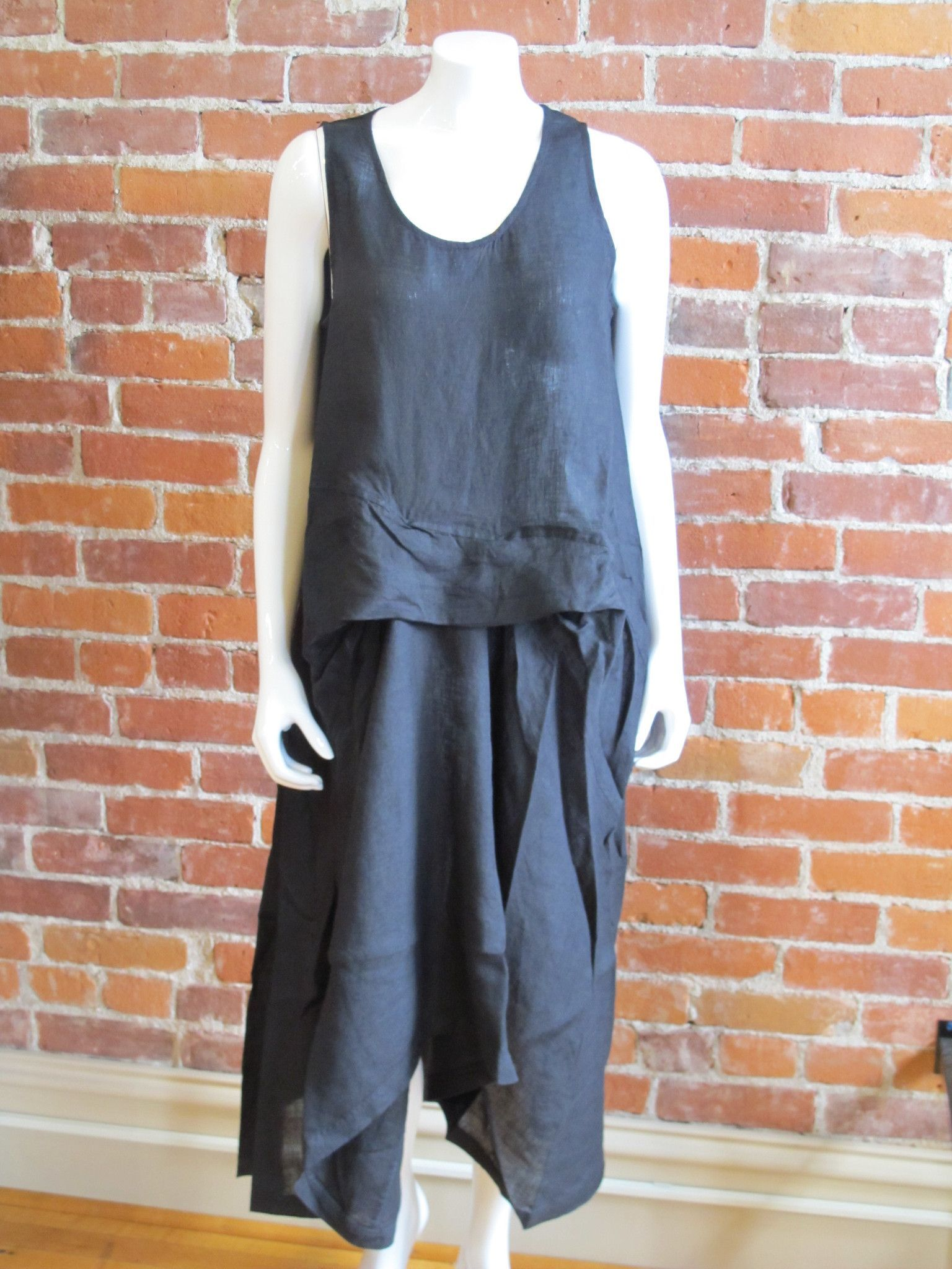 Ivan Grundahl Rie Sleeveless Black Linen Dress - Katze Boutique