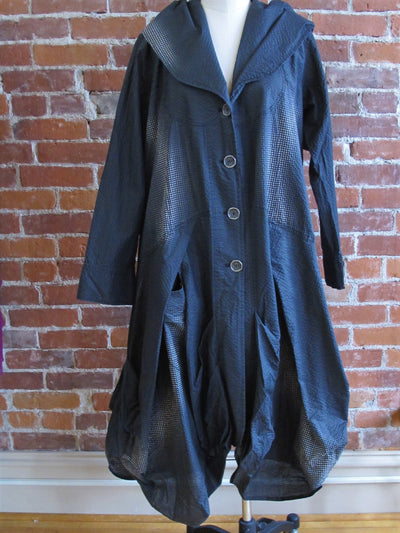 Kekoo Long Hooded Charcoal Coat-Wearable Art - Katze Boutique