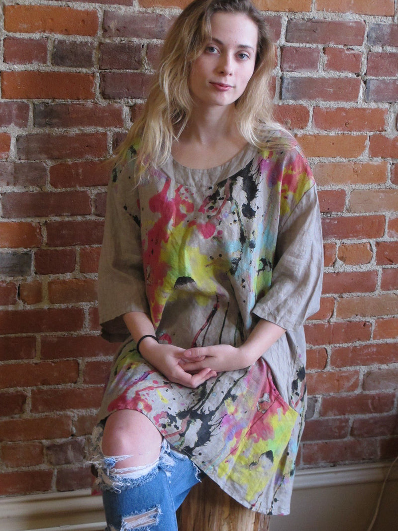 Made In Italy Splash Paint Linen Tunic - Katze Boutique