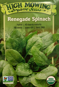 SEEDS: Spinach - Renegade - Organic