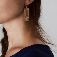 Metalace Gold Rectangle Earrings