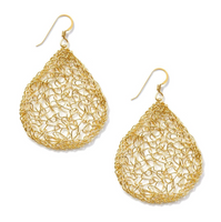 MetaLace Large Gold Pear Earrings