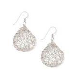 MetaLace Small Sterling Silver Pear Earrings