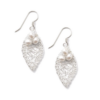 Metalace Silver Leaf Earrings with Pearl Cluster