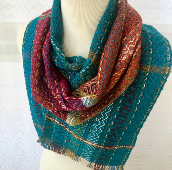 Debbie Barrett-Jones Handwoven Scarf- Autumn Stripes