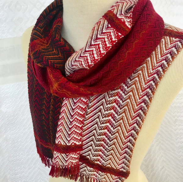 Debbie Barrett-Jones Handwoven Scarf- Warm Stripes