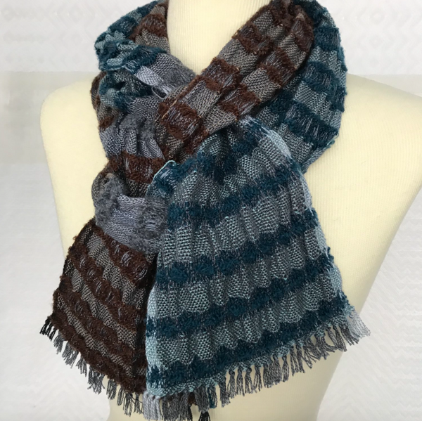 Debbie Barrett-Jones Handwoven Scarf- Shades of Gray