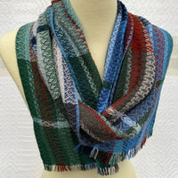 Debbie Barrett-Jones Handwoven Scarf- Winter Stripes Tencel