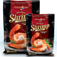 Farmed Cooked White Shrimp peeled & deveined tail-on IQF 16/20 count size (2lb bag, frozen)