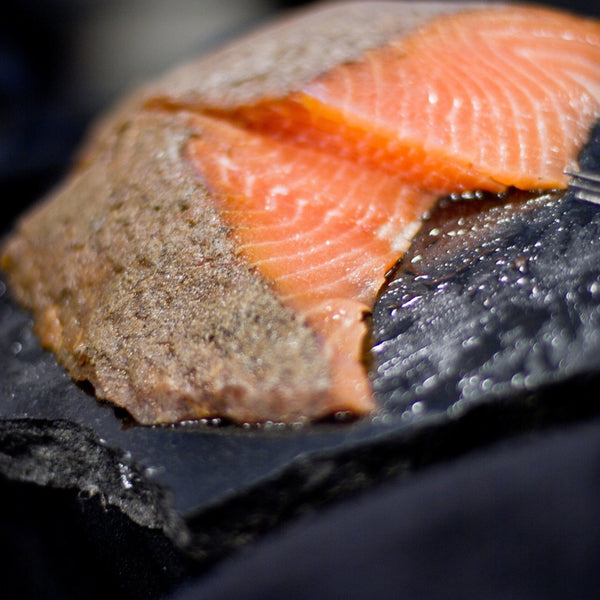Woodsmoke's Pastrami Style Smoked Atlantic Salmon (4oz sliced pack, frozen)
