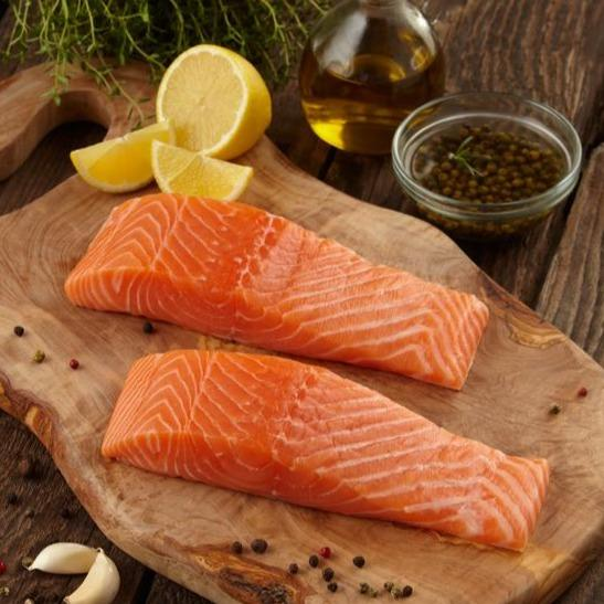 Salmon portions, 5-6oz portions, skin/on, boneless (farmed, fresh)