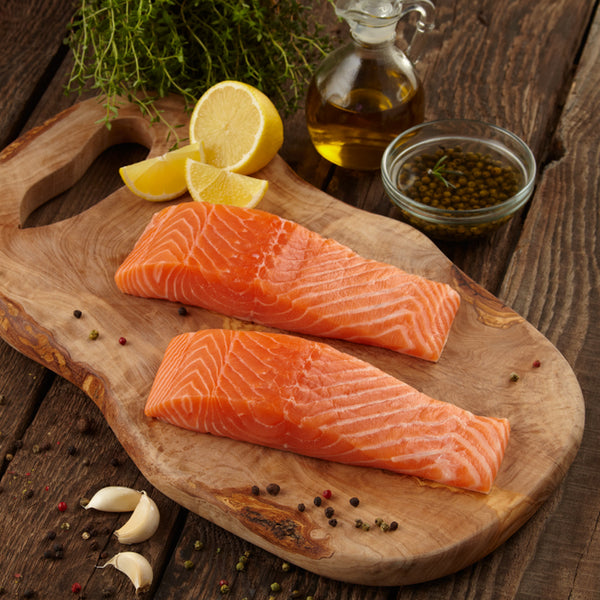 Salmon portions 6oz, skin/on, boneless (4 - 6 oz pieces, farmed, fresh)