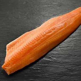 Farmed Canadian Salmon fillets, 2.5lb each, skin on, scaled, pin-bones removed (fresh)