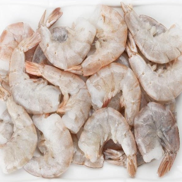 Wild East Coast Raw White Shrimp shell-on head-off IQF 26/30 count size (5lb bag, frozen)