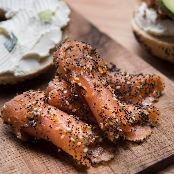 Woodsmoke's Everything Bagel Topped Smoked Salmon (a 4 ounce sliced pack, frozen)