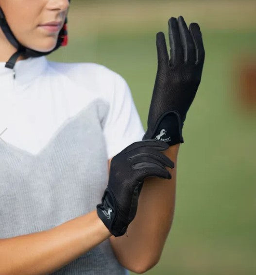 Horze Polyurethane Mesh Riding Gloves - Black